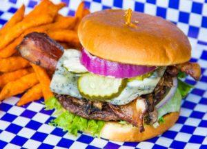Blueshroom Burger with Sweet Potato Fries